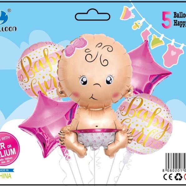 婴儿女孩组合5件套装铝膜气球 生日派对节日婚庆各种活动装饰用品 多款可选 可订做