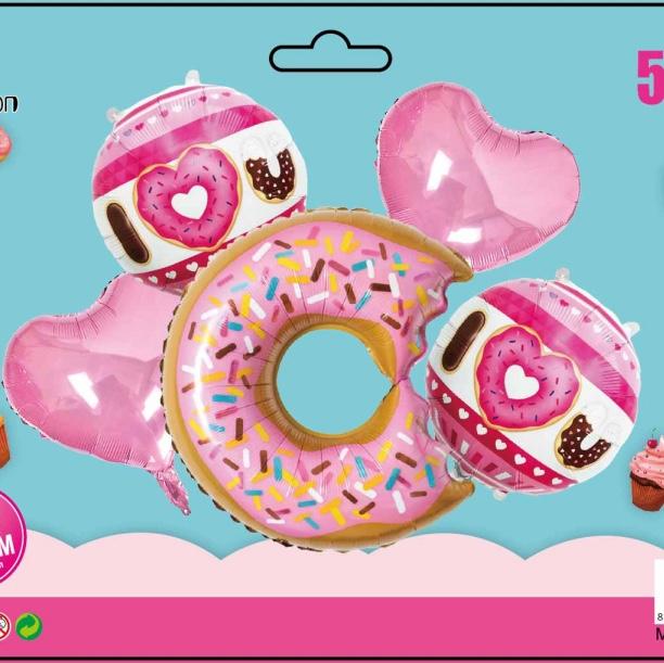 甜甜圈组合5件套装铝膜气球 生日派对节日婚庆各种活动装饰用品 多款可选 可订做