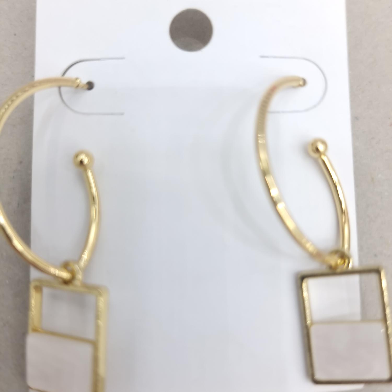 韩版小清新白色方块耳环