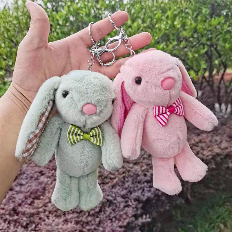 毛绒领结兔钥匙扣挂件可爱大耳兔子公仔书包挂饰玩具娃娃礼品批发