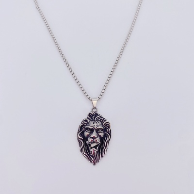 新款男士复古狮子头不锈钢项链 欧美流行超酷动物不锈钢吊坠 潮人必备钛钢不锈钢项链
