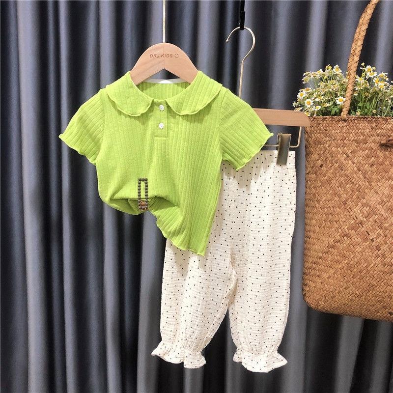 女童夏装套装2021新款夏季洋气时髦儿童短袖女宝宝防蚊裤两件套潮19