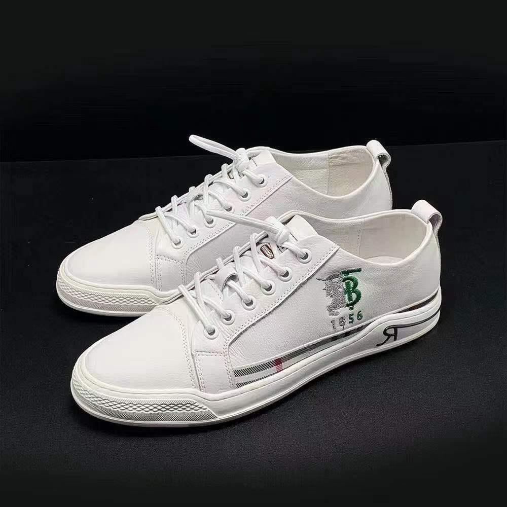 真皮白色男式休闲鞋