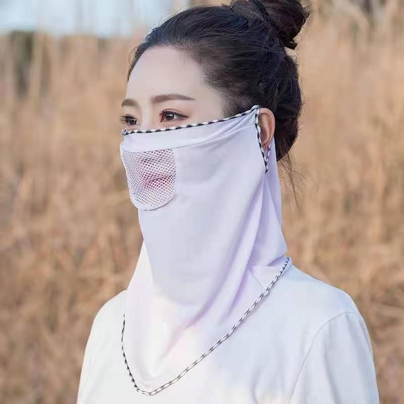 防晒头套面罩冰丝面罩夏天薄款防紫外线面部透气脸罩夏季遮全脸面香芋