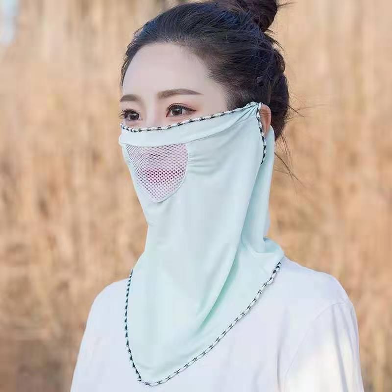 防晒头套面罩冰丝面罩夏天薄款防紫外线面部透气脸罩夏季遮全脸面绿