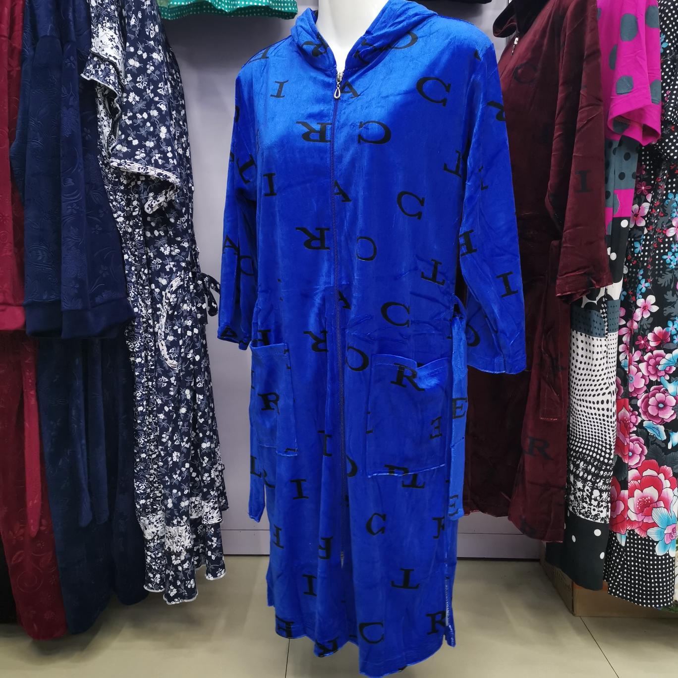 带帽拉链天鹅绒女士连体长衫长裙长袖8分袖家居睡衣