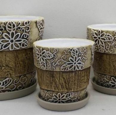 陶瓷花盆套装大中小带托盘728-19