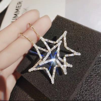 韩版钻石五星耳环