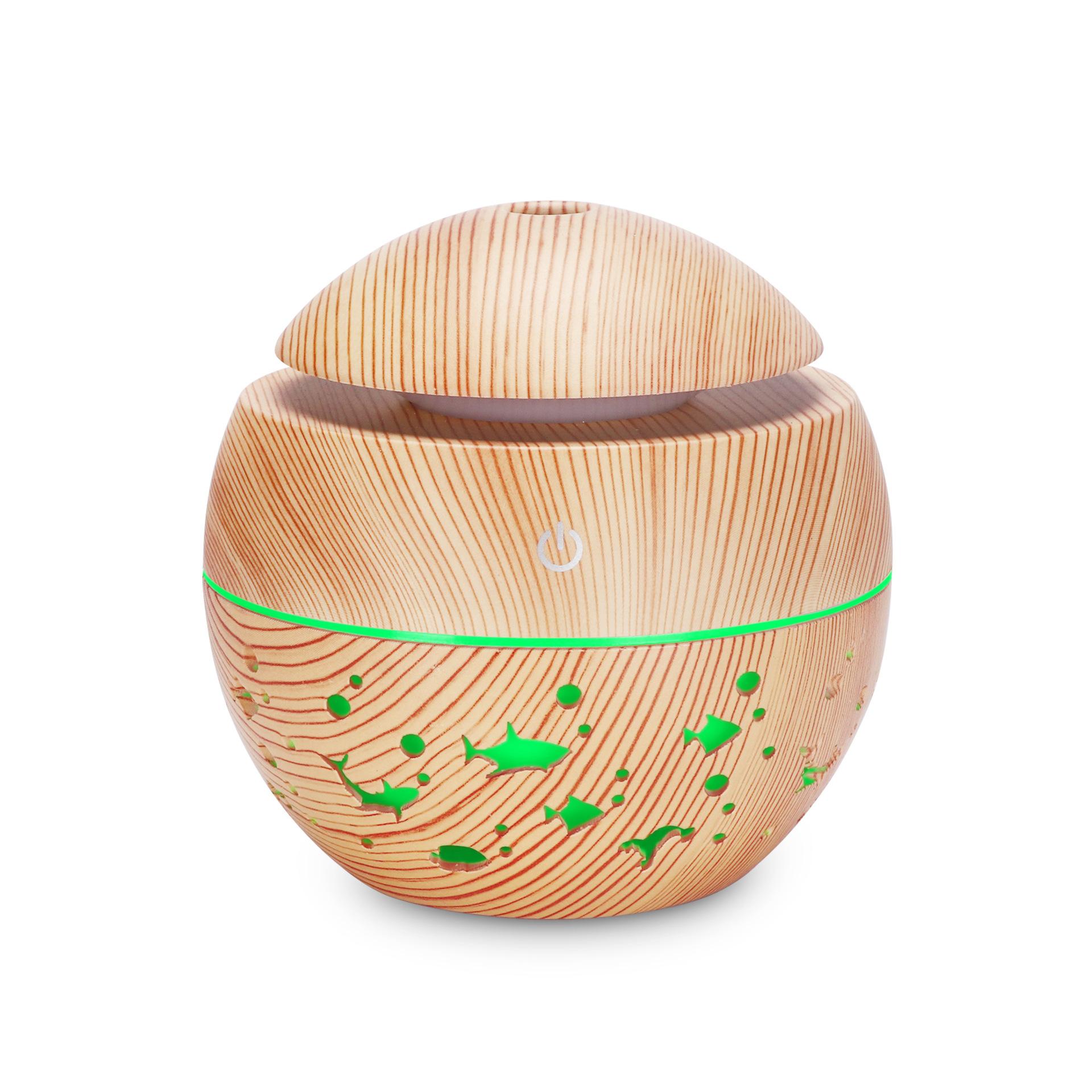 木纹镂空圆球加湿器七彩透光动物香薰机迷你蘑菇130ML 礼品加湿器 浅木纹