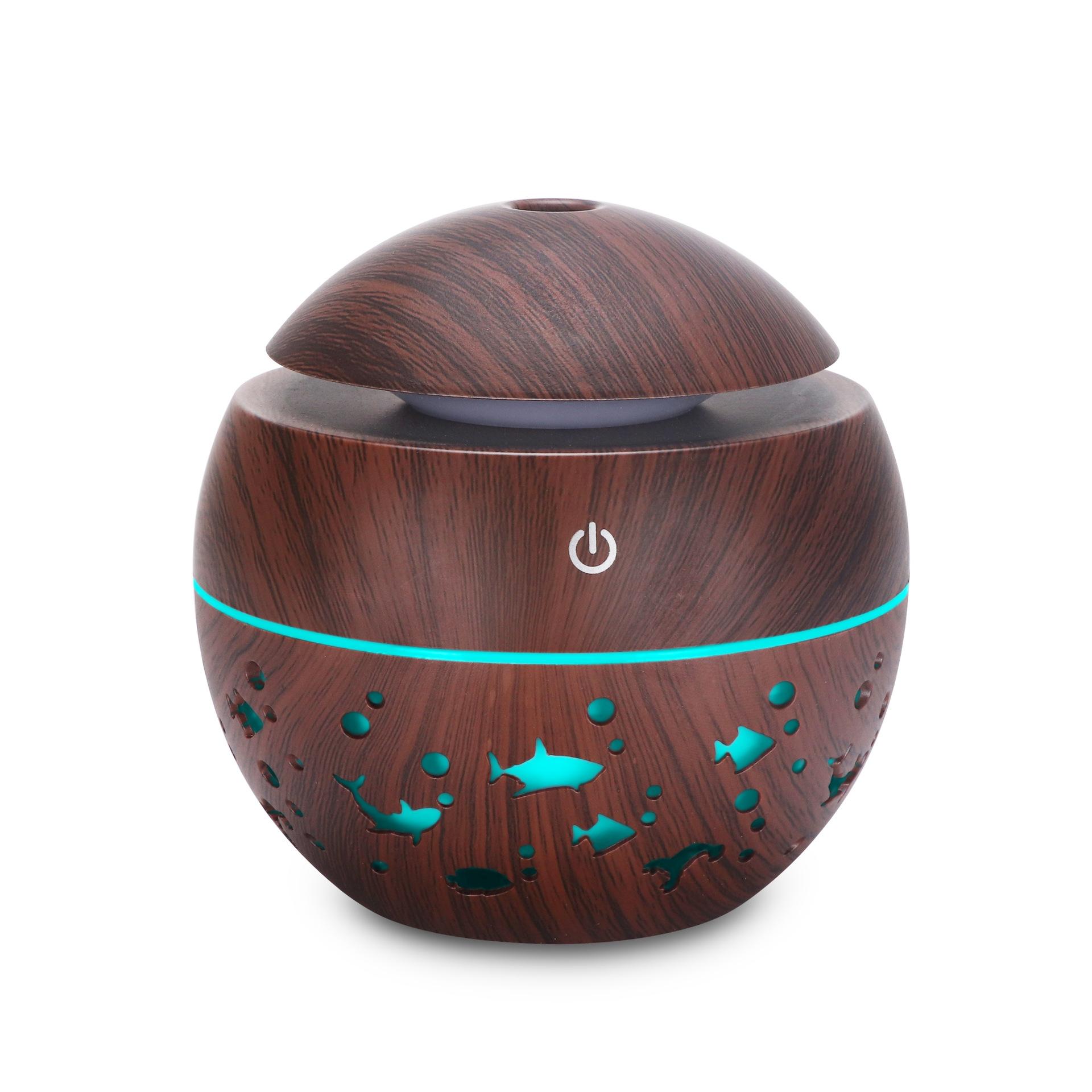 木纹镂空圆球加湿器七彩透光动物香薰机迷你蘑菇130ML 礼品加湿器 深木纹