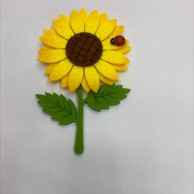 无纺布 毛毡布 黄色太阳花带木瓢虫 ...