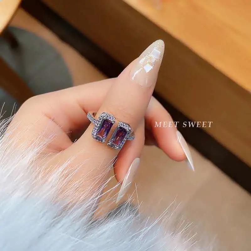 宋妍霏同款多色方形冰块戒指轻奢高级感开口指环女个性宝石食指戒