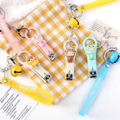 腕带铃铛款指甲剪 创意ins卡通女孩图案便携美甲修甲刀钥匙扣套装