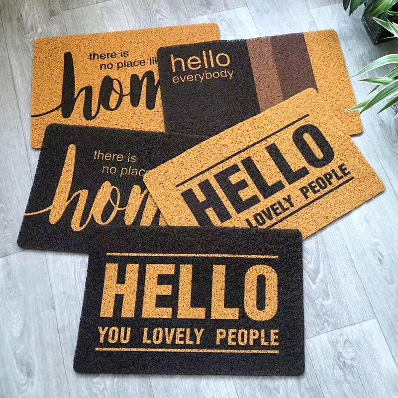 仿椰棕可裁剪丝圈地毯家用玄关门口进门脚垫防滑定做门垫pvc地垫
