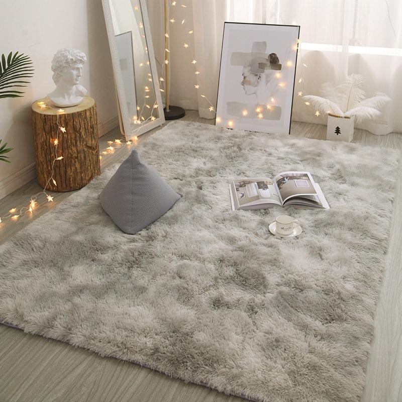 北欧扎染地毯毛绒客厅茶几卧室床边毛毯地垫垫子家用