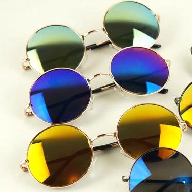复古小圆形3025太子镜男女款太阳镜多彩反光明星款大框太阳眼镜