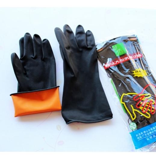 宏富牌黑色加厚工业耐酸碱手套 高级乳胶手套 防腐蚀电镀劳保手套