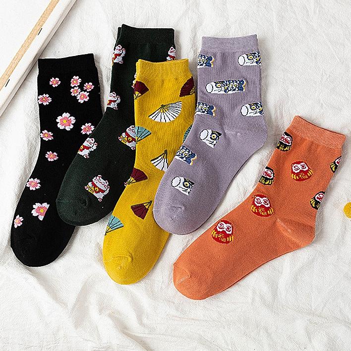 一件代发夏季中筒袜薄款女常规韩版可爱日系卡通动漫ins潮百搭运动