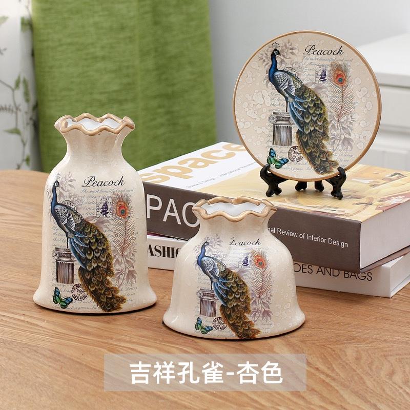 三件套陶瓷套装花瓶 陶瓷花瓶VASE 金色花瓶  陶瓷花瓶 电镀花瓶 门厅玄关摆件5