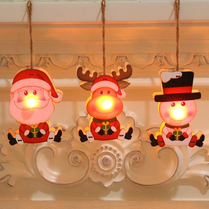 圣诞装饰品木制圣诞镂空圣诞树小挂件木质五角星铃铛挂件礼品45