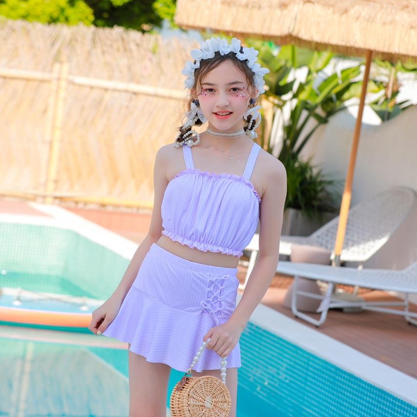 格子分体泳衣少女款