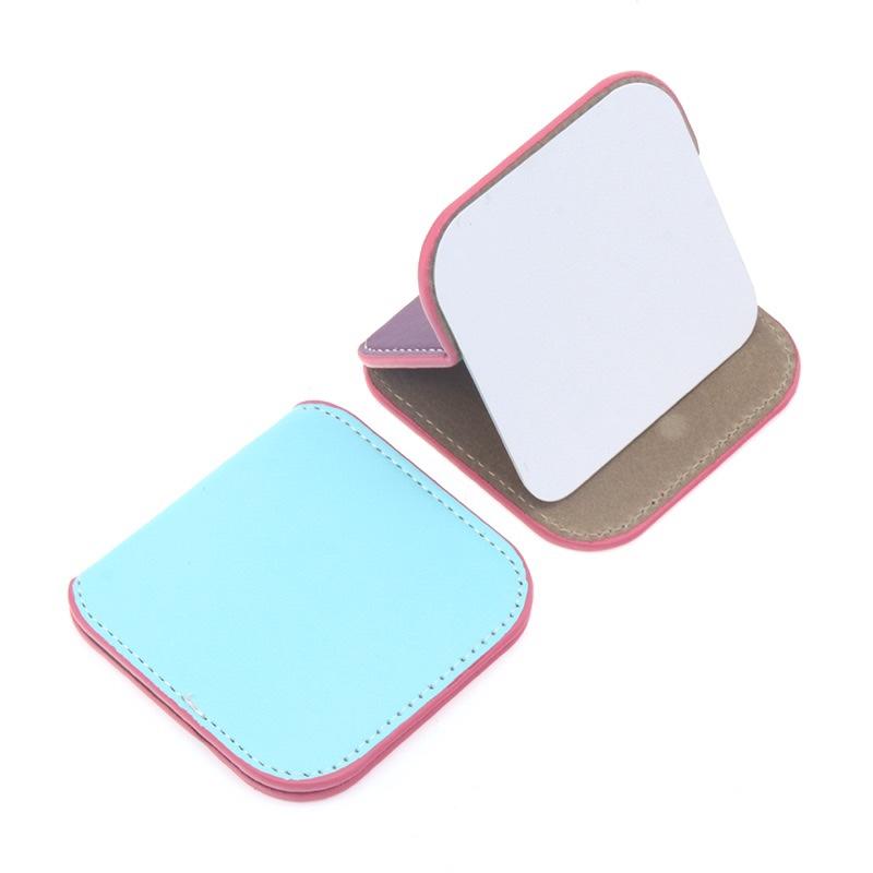 长方形圆形心形pu皮镜子迷你化妆镜小镜子可随身小镜子100