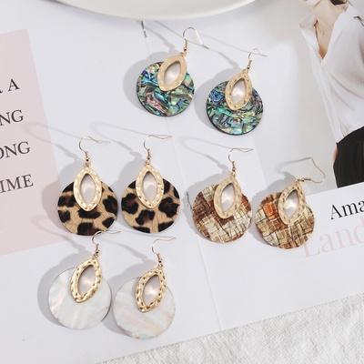 圆形彩色皮革耳环,欧美潮流。