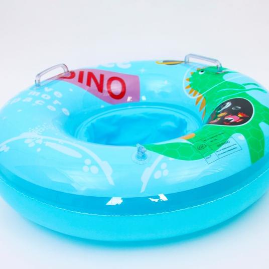 充气玩具儿童透明鸭裤子座圈亮片蓝色恐龙座圈