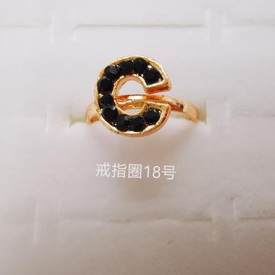 字母系列 彩钻合金戒指 电镀仿金经典...