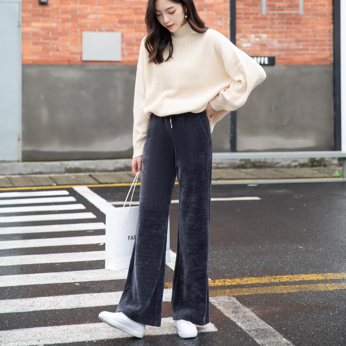 2082#珍珠雪尼尔面料柔软舒适纹理清晰视觉显瘦A字微喇裤型修身时尚拖地裤