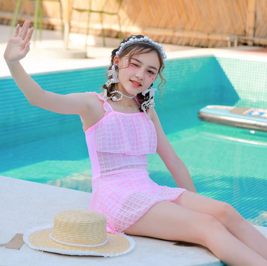 格子连体大童泳衣