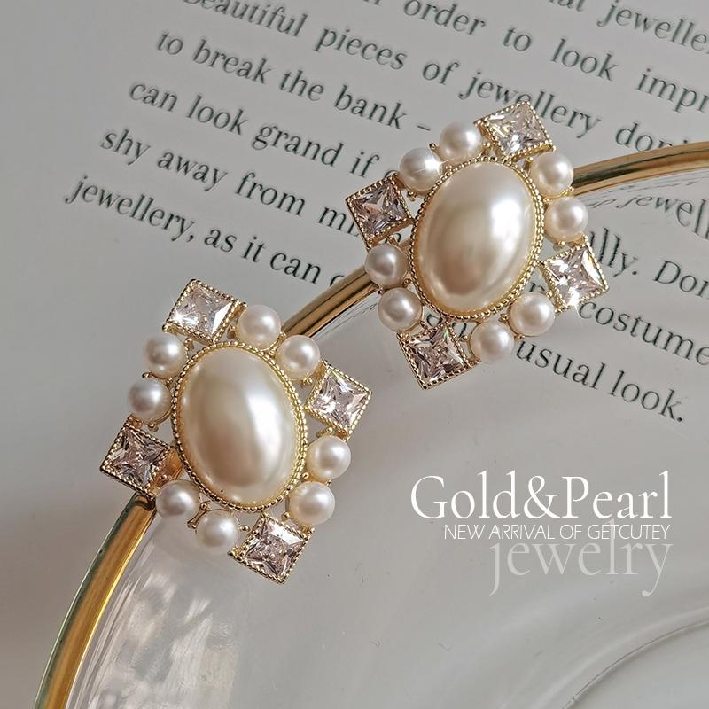 浪漫珍珠感气质耳钉菱形格纹款耳环日韩网红银针耳饰