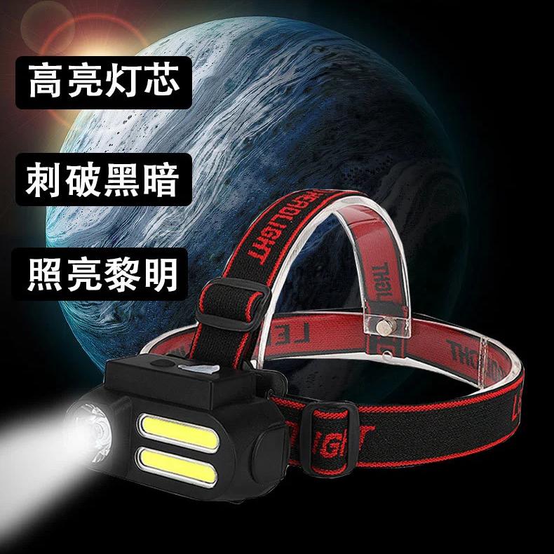 跨境多功能USB充电头灯COB头戴式照明应急灯户外夜钓灯自行车灯