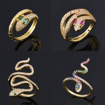 速卖通跨境欧美个性蛇形戒指 铜镀金微...