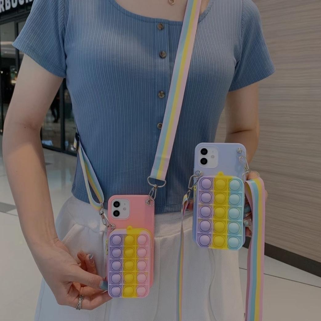适用iPhone12Pro手机壳XR零钱包苹果7/8Plus挂绳灭鼠硅胶11保护套