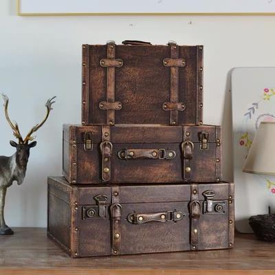 复古箱老式皮箱手提木箱仿古箱收纳盒店...
