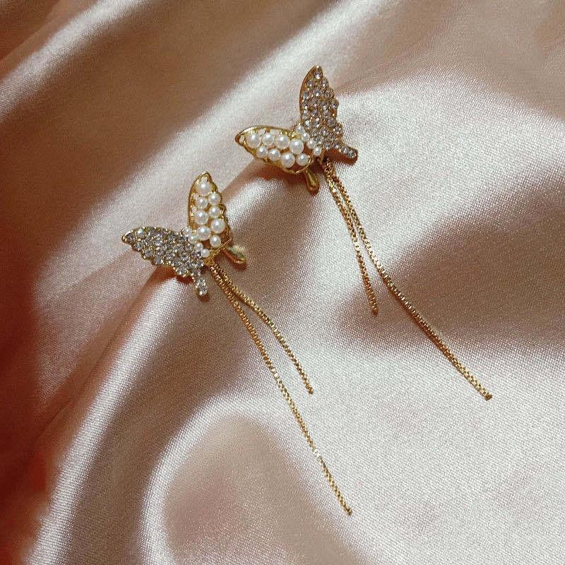 镶钻珍珠蝴蝶流苏耳钉S925银针法式甜美耳坠网红同款耳环耳饰女