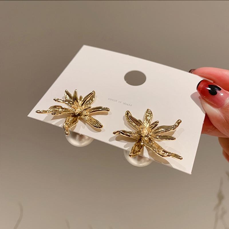 王子文同款高级感金色烟花前后戴珍珠耳环 淑女甜美可爱气质耳饰