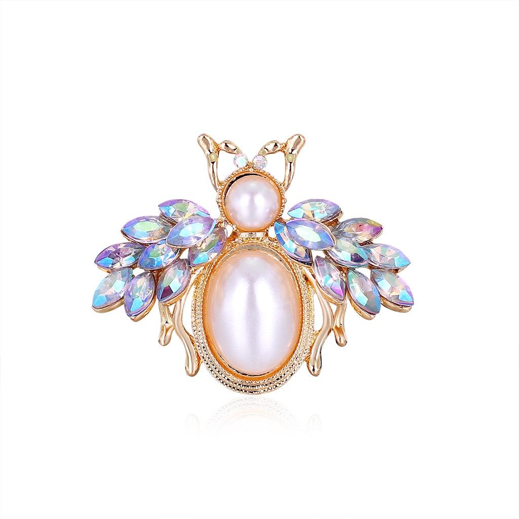 新款合金镶钻珍珠蜜蜂胸针 欧美个性创意小巧胸花