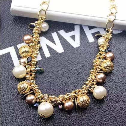 网红同款韩国彩色宝石珍珠水晶项链韩版夸张锁骨链韩国饰品项链女