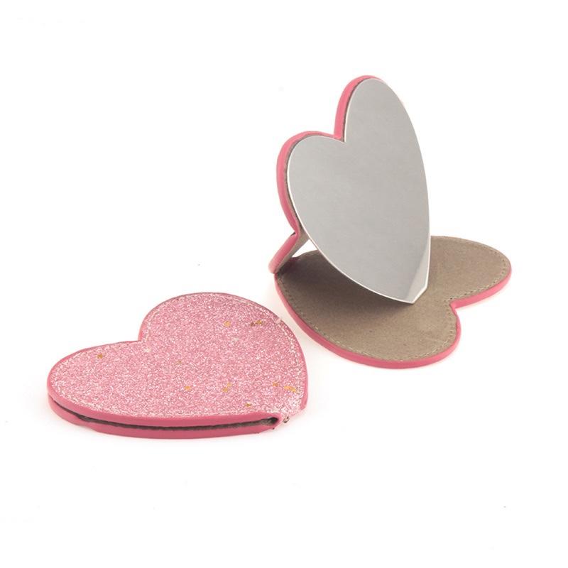 长方形圆形心形pu皮镜子迷你化妆镜小镜子可随身小镜子95