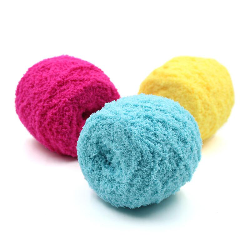 珊瑚绒毛线团绒绒线粗围巾婴儿童宝宝棉手工diy自编织材料包99