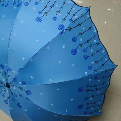 H717三折伞商务伞黑胶遮阳伞晴雨伞...