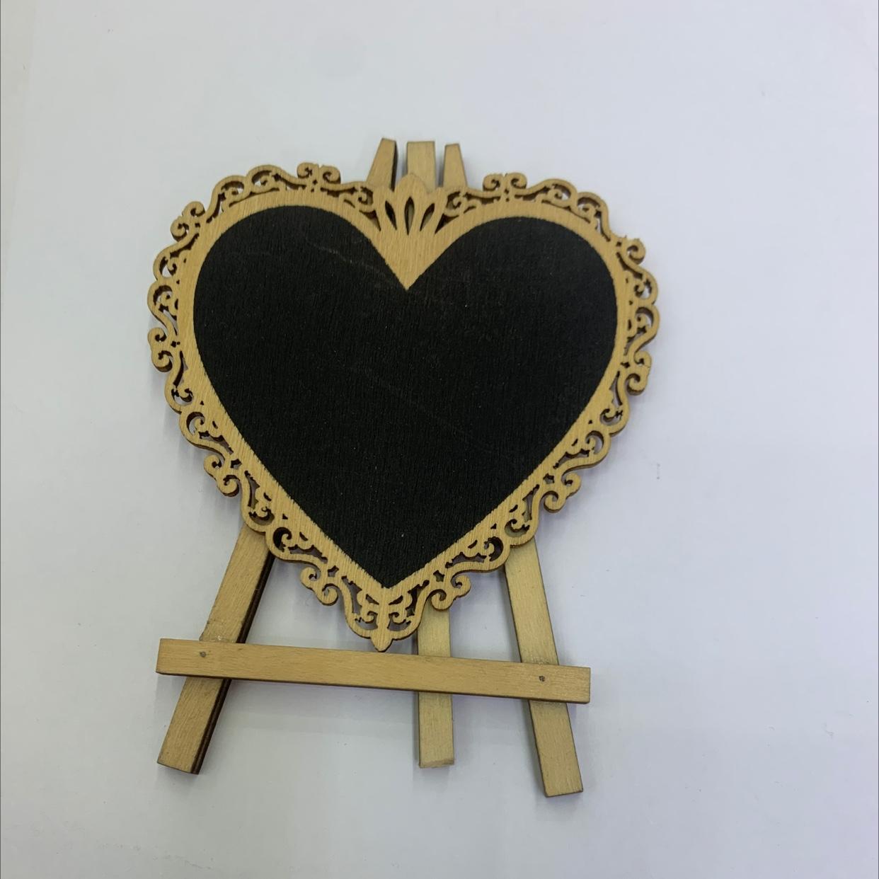 爱心形状 三脚架 留言板 木制 装饰摆件 100