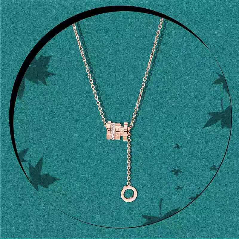 玫瑰金轻奢小众设计感钛钢项链女夏流苏锁骨链2021年新款潮ins冷淡风75