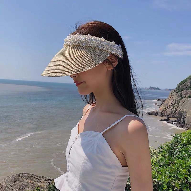 KK HAT 宽阔帽业遮阳帽女夏防晒防紫外线珍珠帽空顶发夹帽沙滩无顶草帽防晒太阳帽