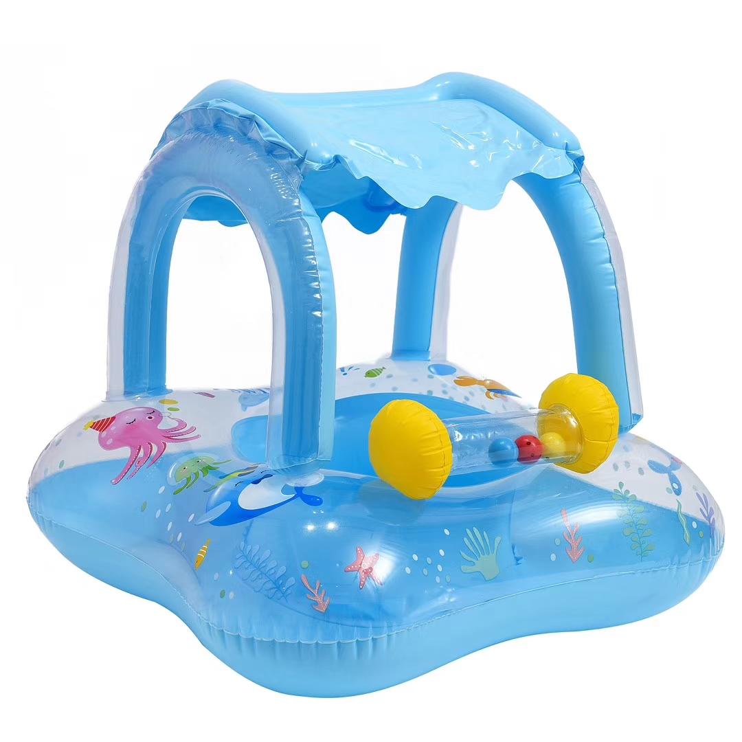 充气玩具儿童透明鸭裤子座圈亮片蓝方形遮阳艇