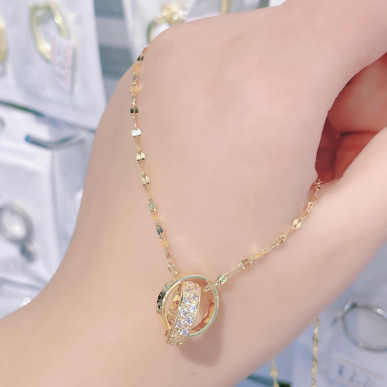 新款双环钛钢不掉色项链女轻奢小众高级感闺蜜ins锁骨链网红同款项链