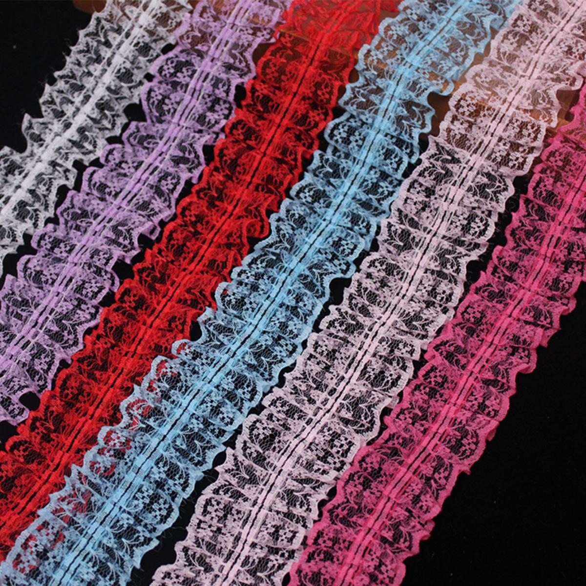现货4.5cm米字蕾丝133-2褶皱打折花边发饰玩具儿童头箍蕾丝花边密