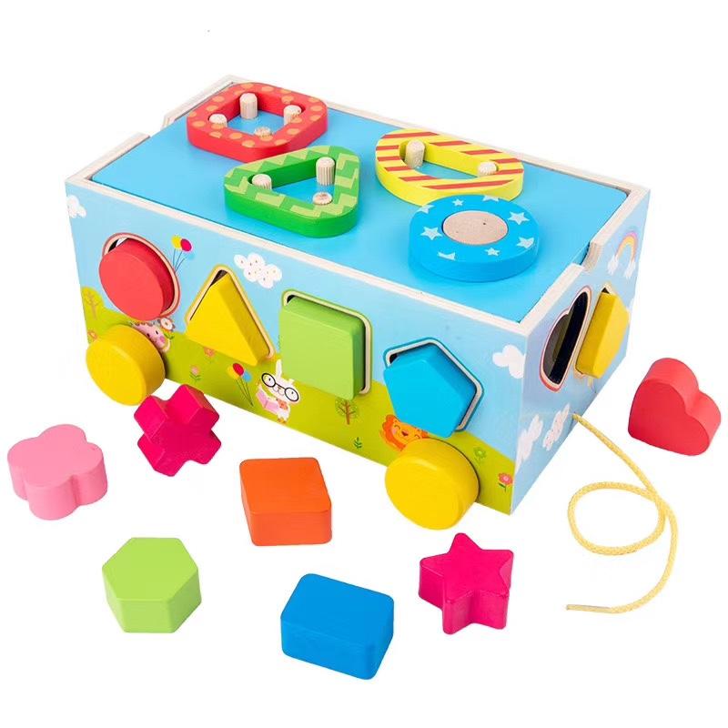 木制玩具 益智早教启蒙认知玩具 木制形状积木配对拖车 色彩丰富 趣味性强 锻炼宝宝动手能力 手眼协调能力培养